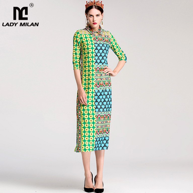 New Arrival Womens Turn Down Collar 3/4 Sleeves Printed Side Split Casual Fashion Straight Mid Calf Dresses