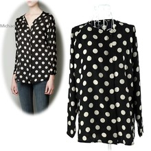 New Fashion Women's Round Neck Long Sleeve Big Dot Chiffon Blouse Shirt Tops Free Shipping