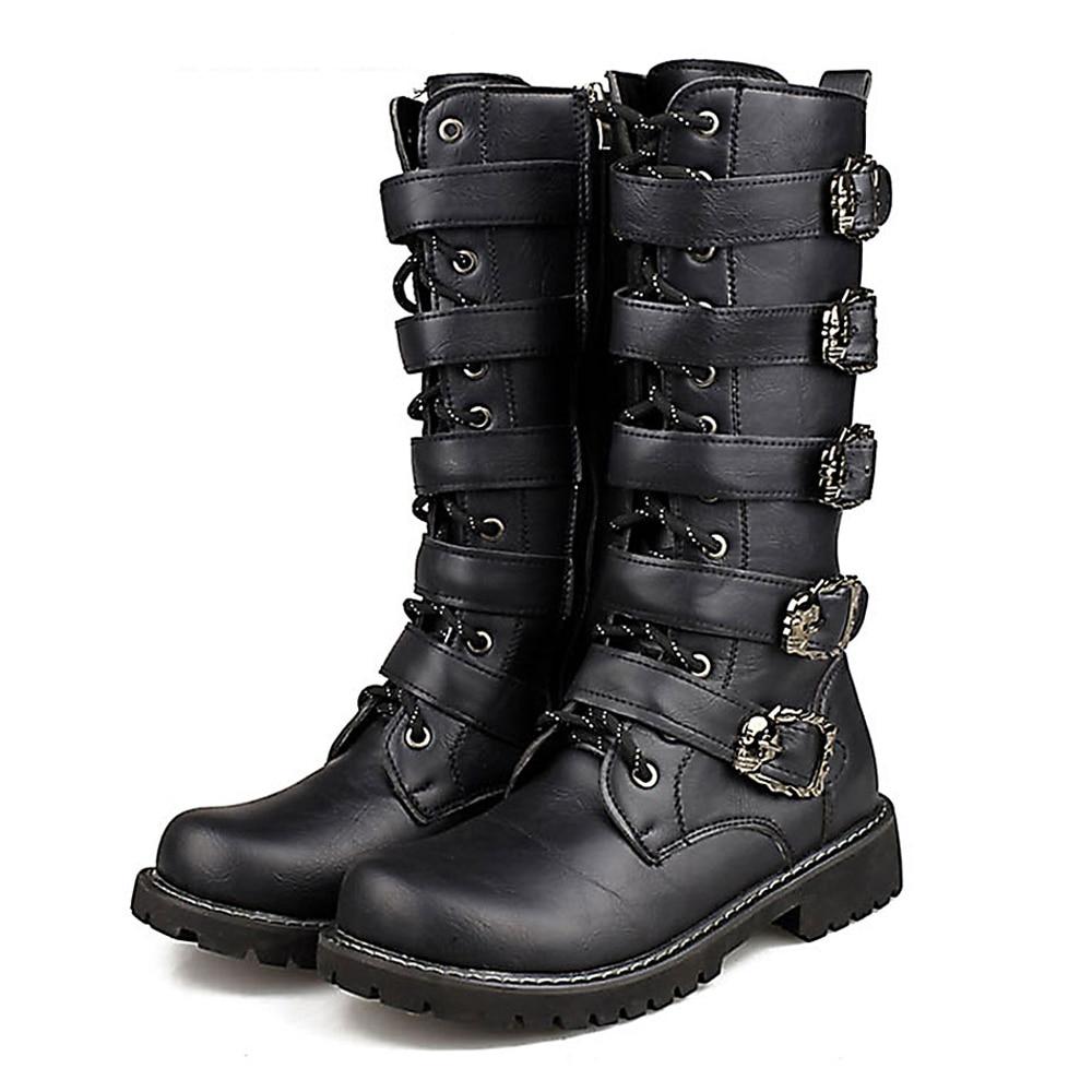 купить Motorcycle Boots Men Motocross Boots Motorcycle Shoes PU Leather Rock Mid-calf Buckle Motorbike Boots Punk Martin Boots Black онлайн