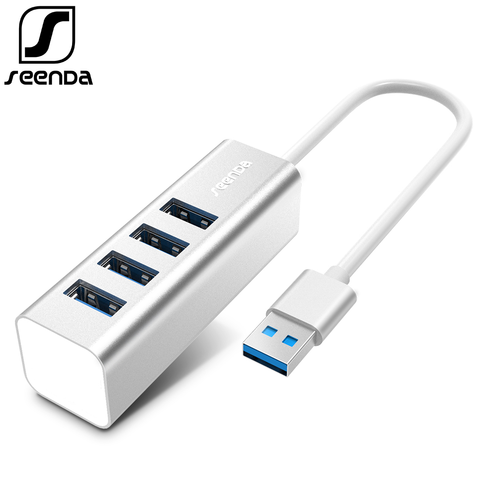 SeenDa Aluminum USB HUB 2.0 External 4 Port Portable OTG HUB USB Splitter For Macbook Laptop PC Tablet Computer Accessories portable 4 port usb 2 0 hub for pc laptop white