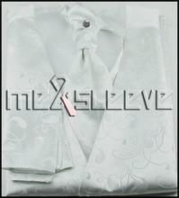 new arrive  free shipping white floral formal wear waistcoat (vest+ascot tie+cufflinks+handkerchief)