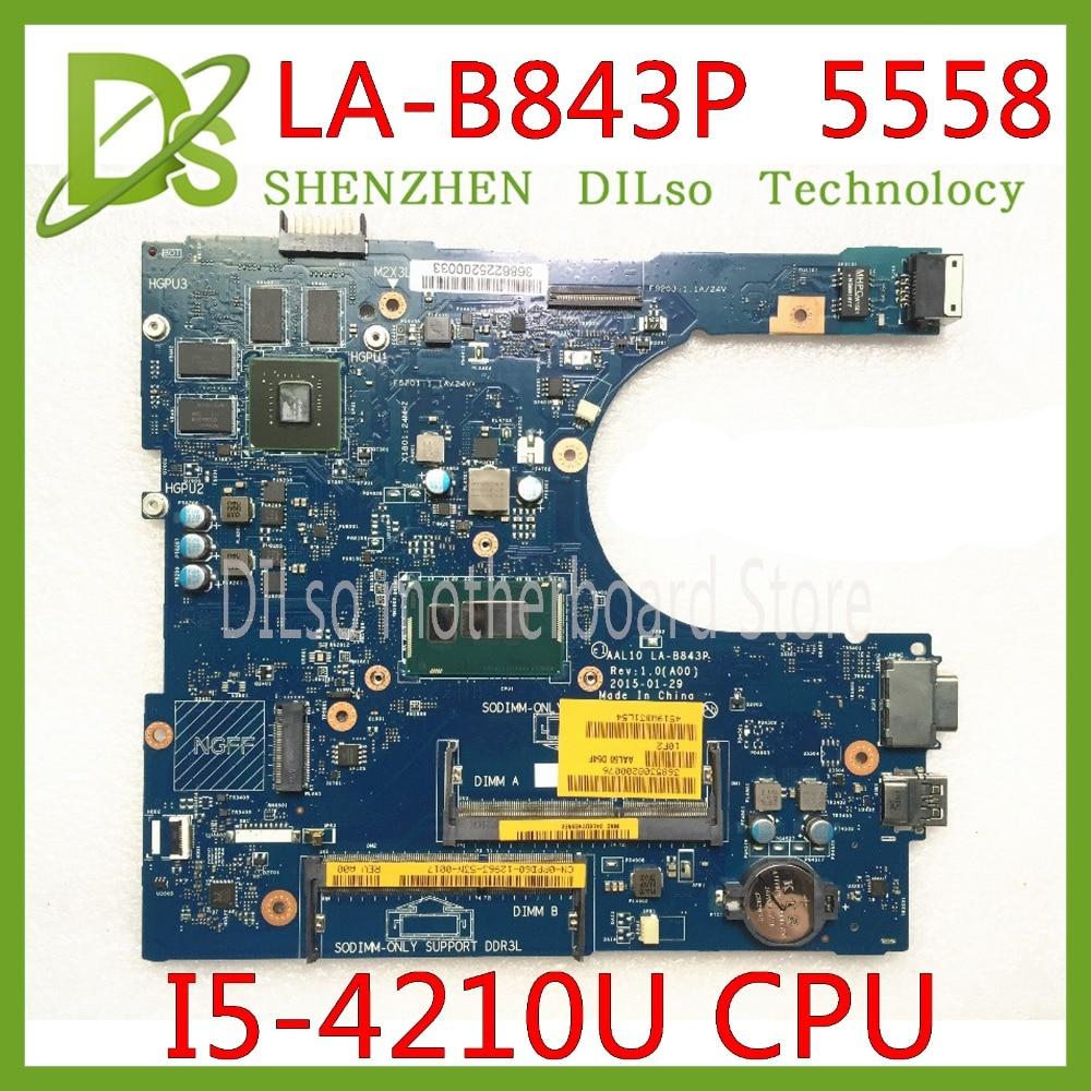 KEFU LA-B843P CN-0FRV68 For DELL CN-0FRV68 FRV68 5458 5558 5758 Laptop Motherboard I5-4210U GT920M LA-B843P Work 100%