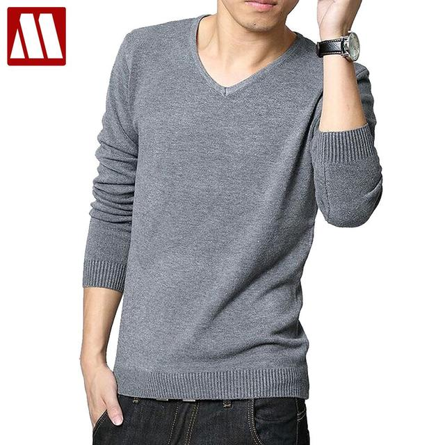 2016 Spring Winter Clothes New Long Sleeve Knitted Shirts Men's V neck Sweater Solid Color Sweater Man Shirts Knits Wearing F020