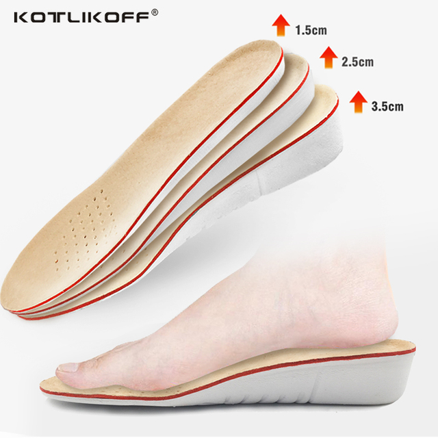 KOTLIKOFF Pig skin Height increase insoles for men/women 1/2/3 cm up invisiable arch support orthopedic insoles shock absorption