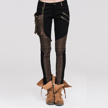 of 2017 new European style package with leather leggings stitching Gear Solid pencil pants female stretch pants pants