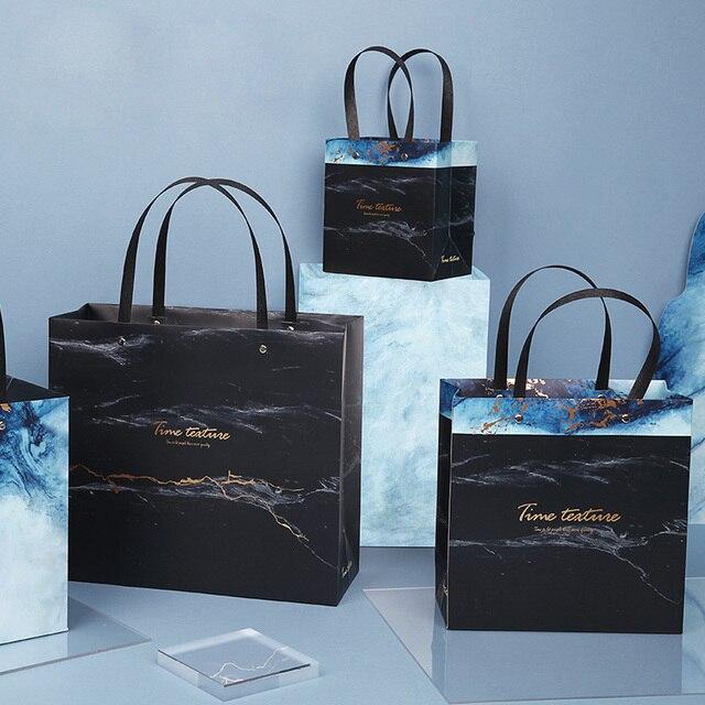 Sac cadeau marbré exquis en papier, sac cadeau daffaires Simple, sac pour les courses en papier, articles demballage, 1 unité