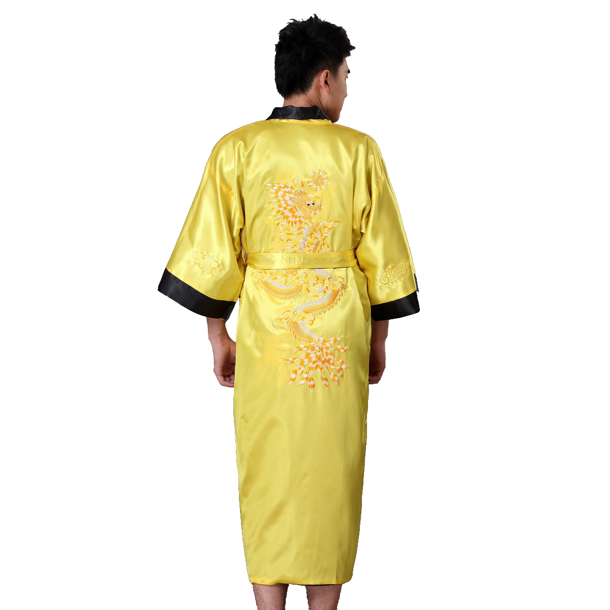 Reversible Black Yellow Chinese Men's Satin Robe Gown Tradition Embroider Dragon Sleepwear Kimono Bathrobe  S M L XL XXL XXXL