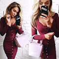 Botón dress mujeres 2016 winter fashion casual solid negro claret año nuevo delgado atractivo de la envoltura de manga larga party dress mujeres vestidos