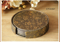 6PCS/set 10cm round leather bar coffee house drink cup coaster heat insulation pad dining table mats gold flower copper 4005