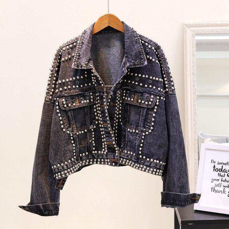 Новое джинсовое пальто с заклепками женские джинсы куртка весна осень Женская куртка 8WT020