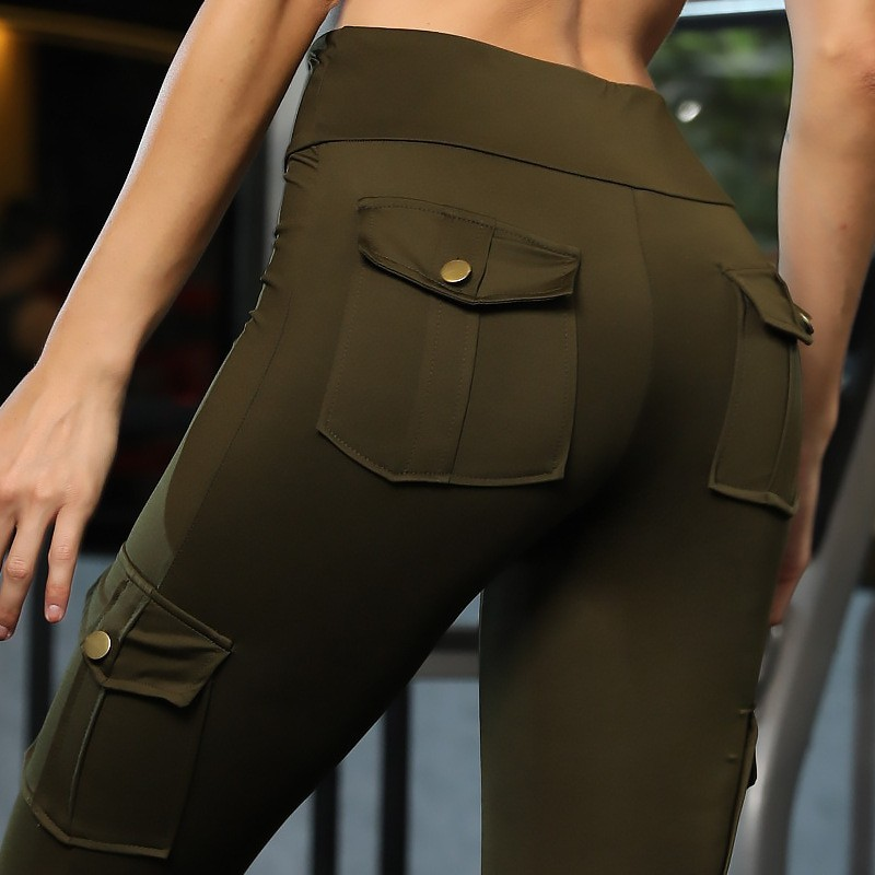 Army Green Push Up Fitness   Leggings   Women High Waist Workout   Legging   with Pockets Patchwork Leggins Pants Women Fitness Clothing