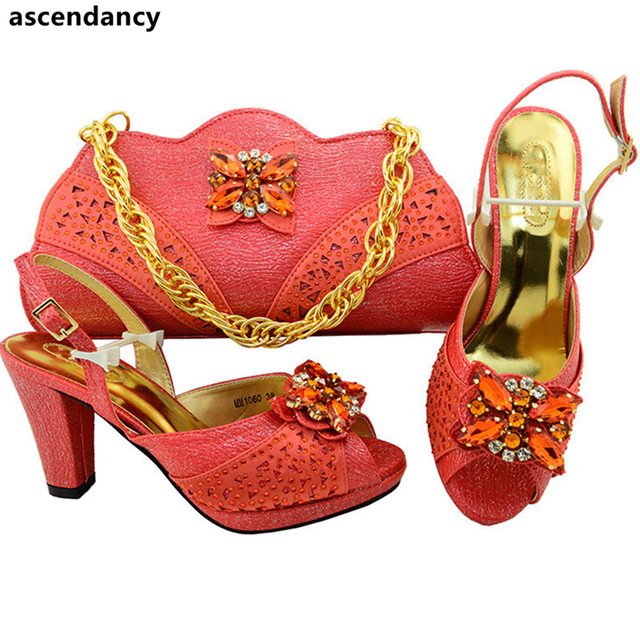 Latest Coral Color Nigeria Wedding Shoes and Bags High Quality African  Wedding Shoes and Bag Set African Party Shoes and Bag Set 8ec091c297fc
