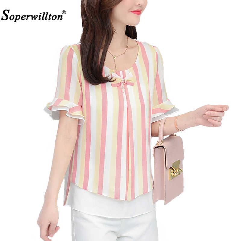 ファッションブラウスシャツ夏トップスシフォン花びら長袖カジュアルルーズプラスサイズ 4XL O ネック弓シャツ Blusas