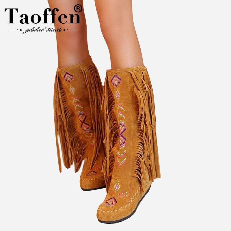 TAOFFEN Mode Chinesischen Nation Stil Flock Leder Frauen Fringe Flache Heels Lange Stiefel Frau Quaste Kniehohe Stiefel Größe 34 -43
