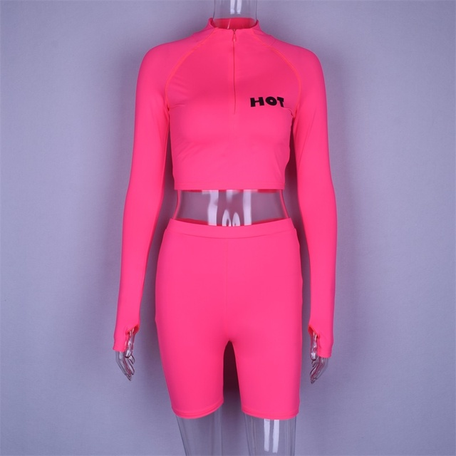 Hugcitar long sleeve high neck zipper letters print crop tops bodyocn shorts 2 pieces set 2018 autumn winter women fashion casua 5