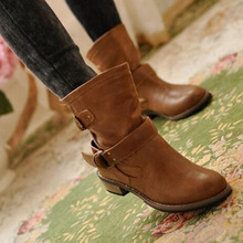 Winter Hot Sale Women Fashion Leather Martin Shorts Boots,Round Toe Buckle Strap Solid Color Low Heels Ankle Boots Size 35-43