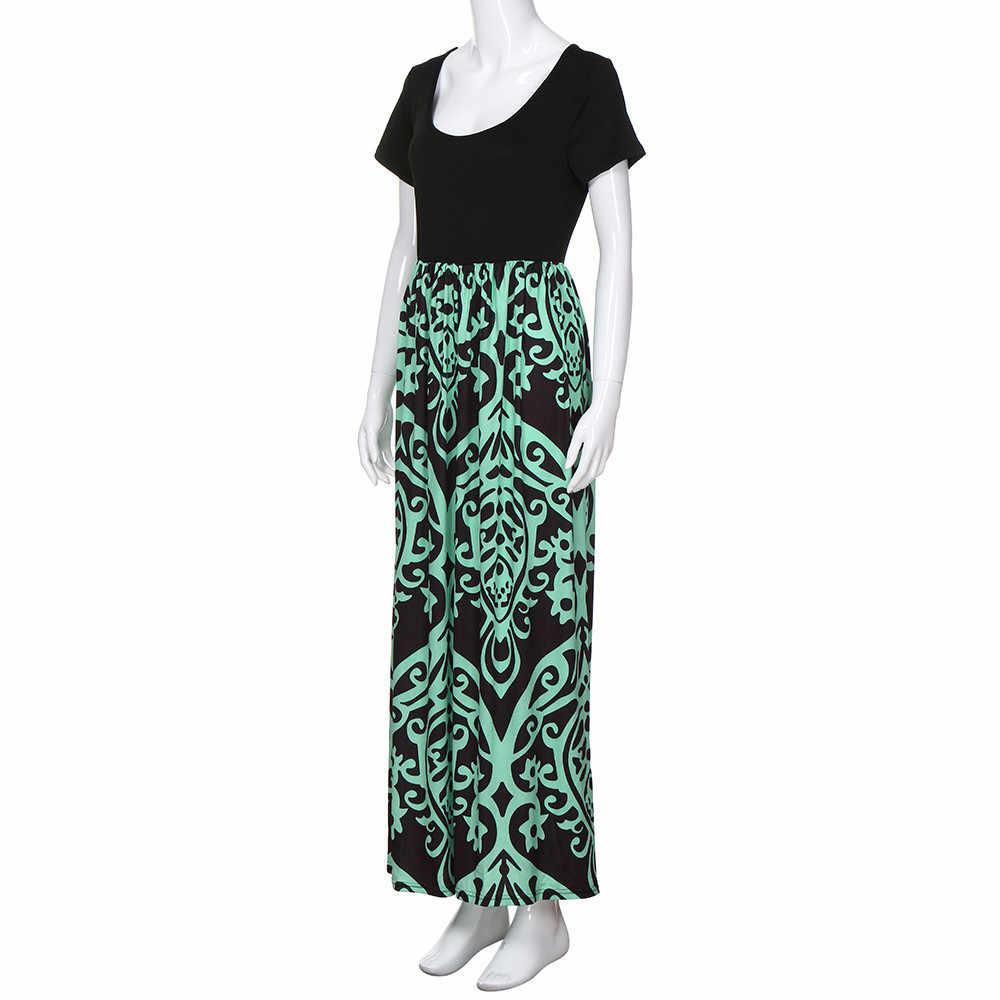 Womail dress Summer Women Short Sleeve Chevron Print Plus Size elegant  Casual Long Maxi Dress Loose New Party 2019 dropship M11