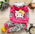 2016 New Baby Meninas Define Vestuário Crianças Hoodies Primavera Outono Roupas Definir Crianças Esporte Conjunto Agasalho Bebê T-camisa + calças 2 pcs