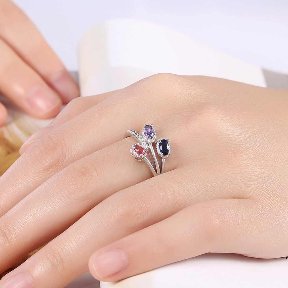שלוש קריסטל טבעות Ouro אנל עם אריזת מתנה משלוח אפשרות טבעת יום נישואים חתונה מסיבת רטרו תכשיטים