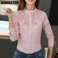 BOBOKATEER Embroidery Blouse Women Blouses Long Sleeve White Shirt Women Tops Office Blusas Mujer De Moda