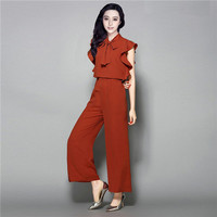 High Street Fashion Women Jumpsuit 2018 Elegant Ladies Solid Red Rompers and Jumpsuits Plus Size Long Pants Summer Ruffle Sleeve