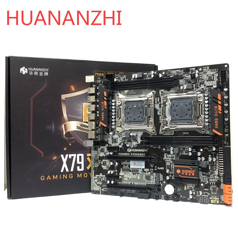 Huananzhi huananzhi x79 cpu dupla lga2011 lga 2011 placa-mãe com processador duplo ddr3suitable para cpu do servidor e memória do servidor