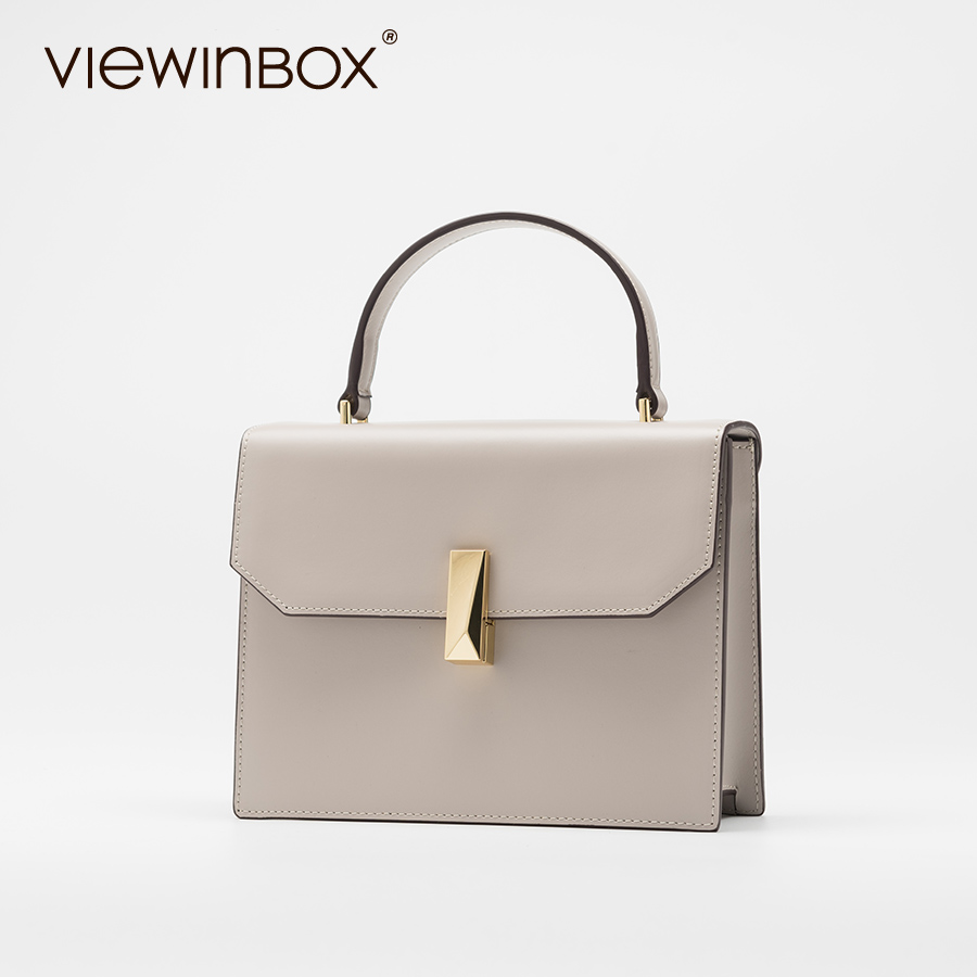 Viewinbox Leather Fashion Handbag Split Leather Casual Tote Handbag