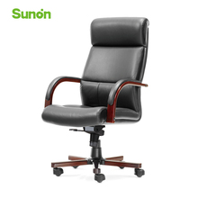 Genuine Leather Ergonomic Boss Chair Adjustable Lifting Office Chairs with Wood Armrest Headrest High Back Computer Chair