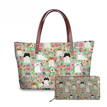 NOISYDESIGNS Women 2pcs/set Handbags Pekingese Dog Printing Shoulder Tote Bags Ladies Luxury Design Hand Bag Female Sac A Dos