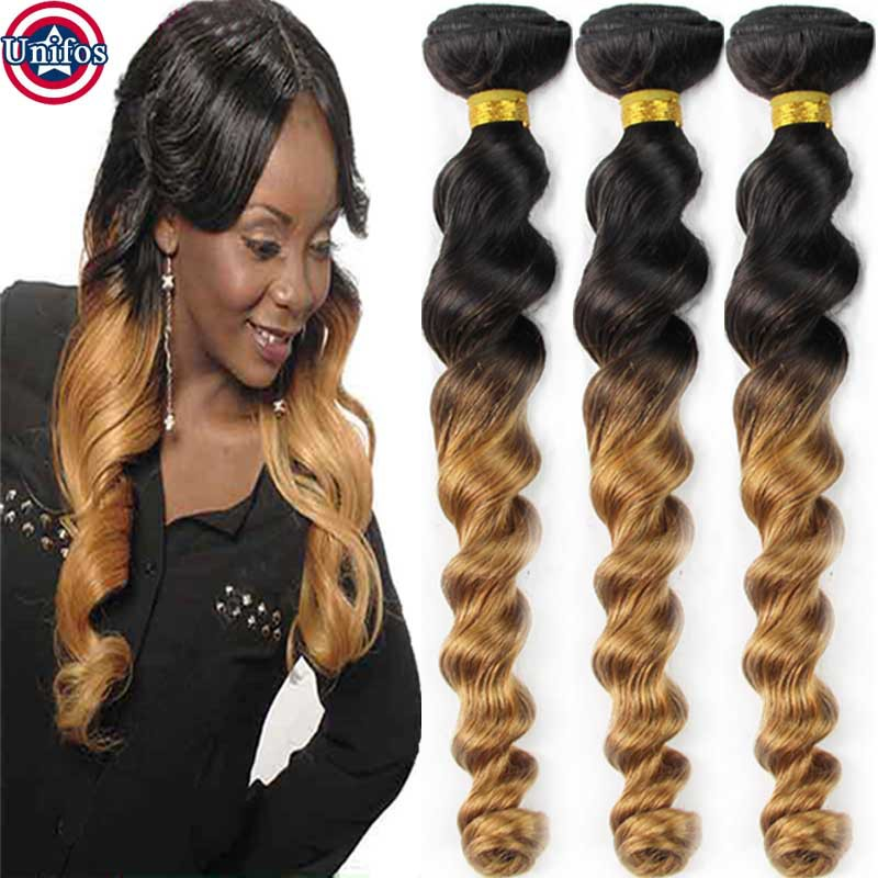 Ombre Brazilian Hair Weft 3 Bundles Two Tone Human Hair
