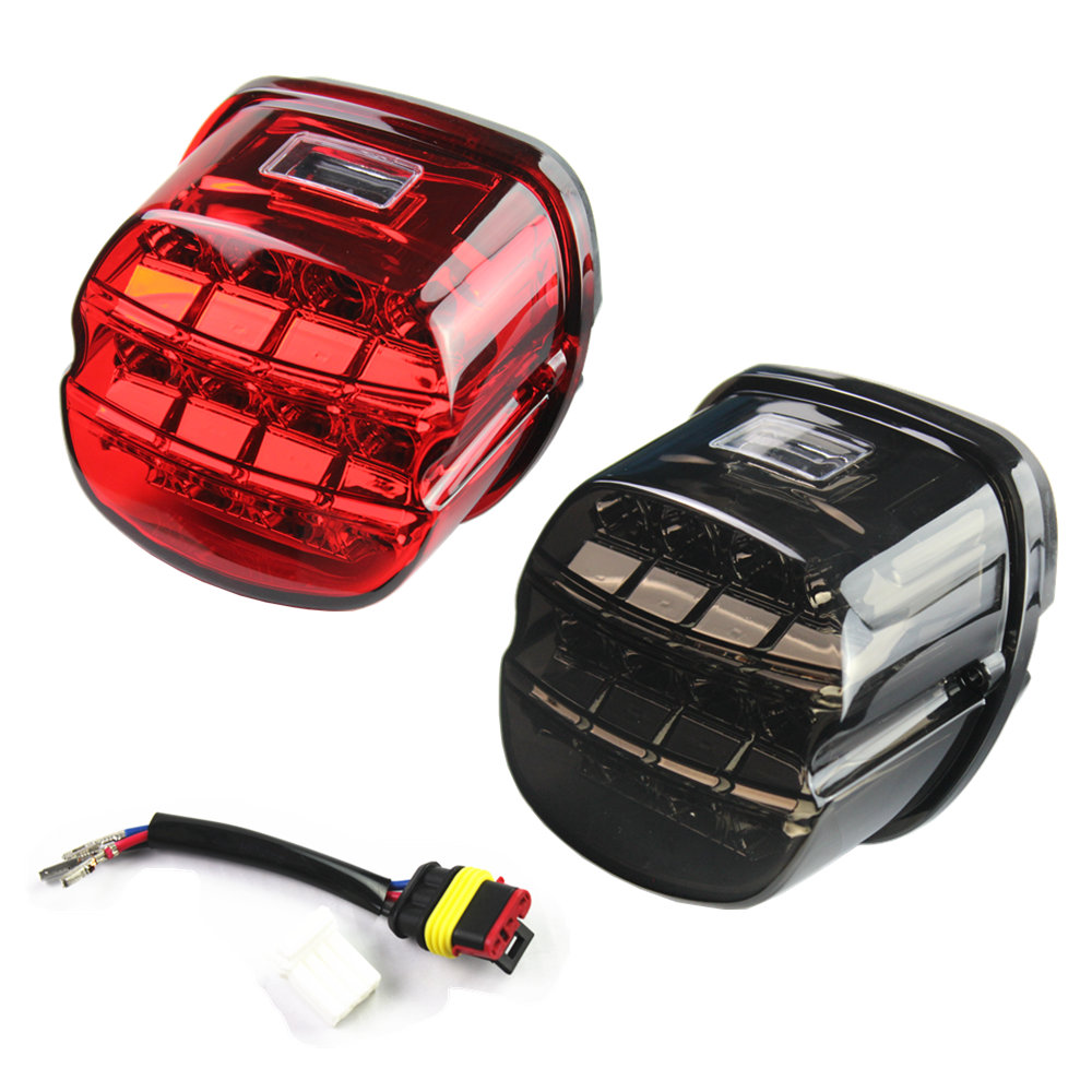 все цены на Motorcycle LED Brake Tail Light For Harley Dyna Fat Boy FLSTF Night Train Touring Softail Sportster Road King Electra Road Glide онлайн
