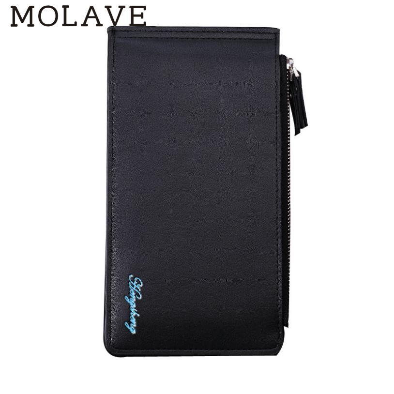 MOLAVE wallets wallet male Solid card holder Zipper Men Leather Card Cash Receipt Holder ...
