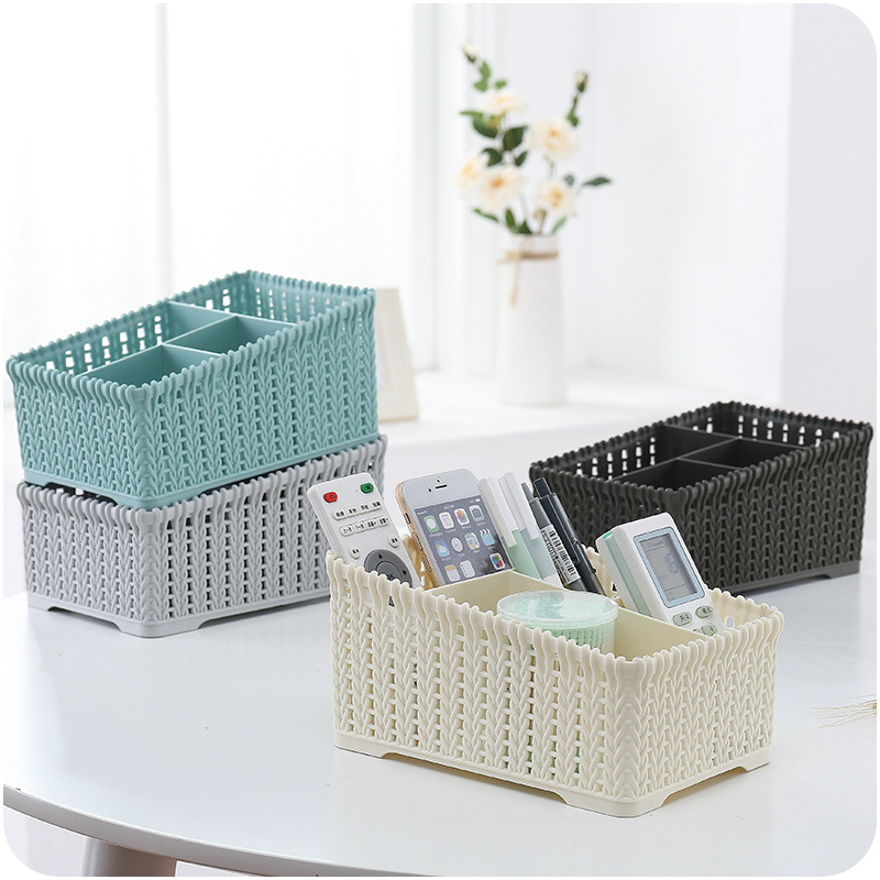 New Nordic Europe Style Desktop Plastic Rattan Storage Basket Bathroom Cosmetic Jewelry Sundries Stationery Storage Basket Box