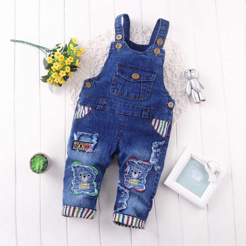 e57ce81fed2 BibiCola Spring Children Overall Pants Baby Boys Pants Kids Jeans Overalls  Jumpsuits Cotton Denim Bib Pants