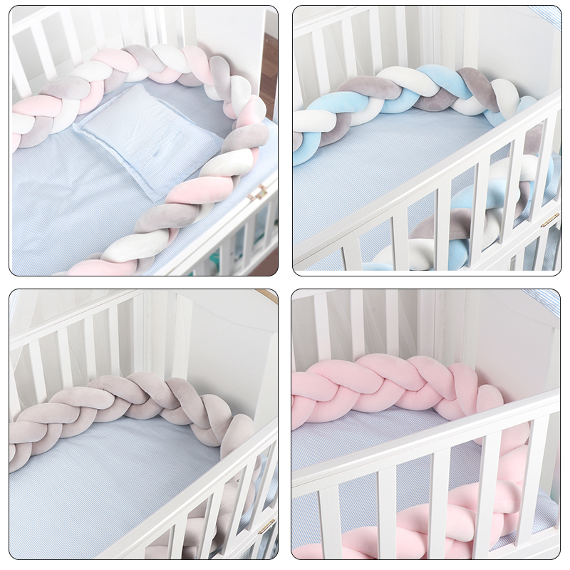 Nordic Newborn Baby Braids Bed Bumper Knot Pillow Baby Crib Protection Bumper Bedding CE Certification Safe Braided Crib Bumper