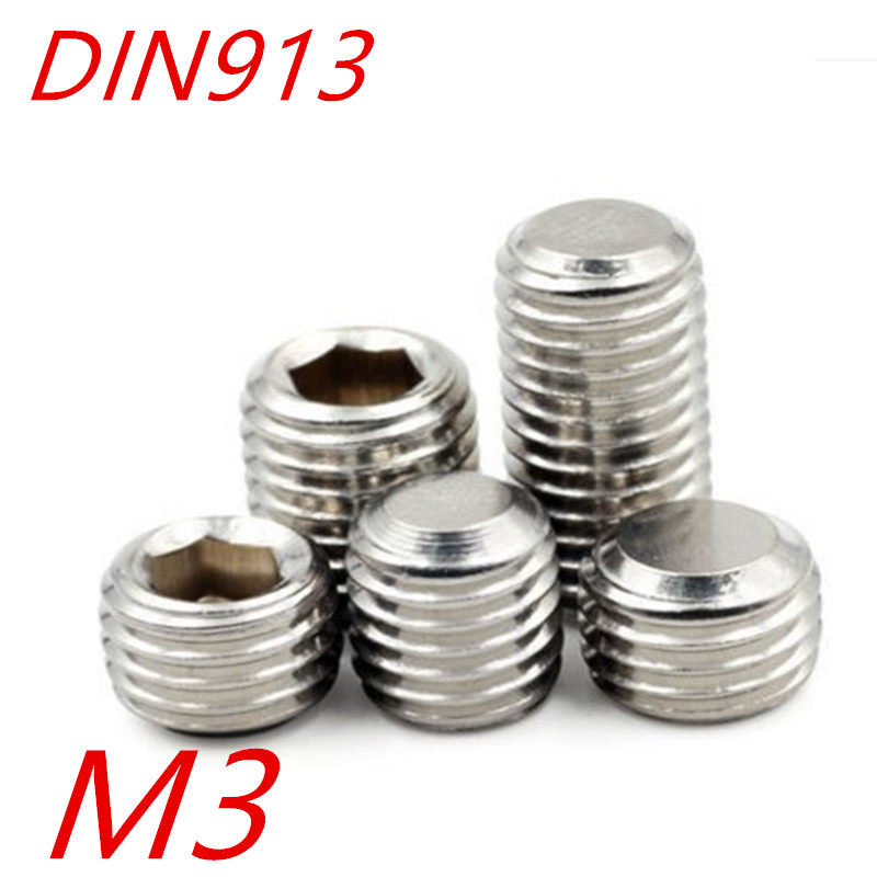 1000pcslot M3*345681012 DIN913 A2 Stainless Steel Screw Flat Point Hexagon Hex Socket Set Screws