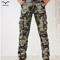 Activo 2017 Hombres Sping Verde Del Ejército Pantalones Cargo Moda basculador Entrepierna Pantalones Patchwork Masculinos Fácil de Lavado Grande Camuflaje Pantalones Cargo