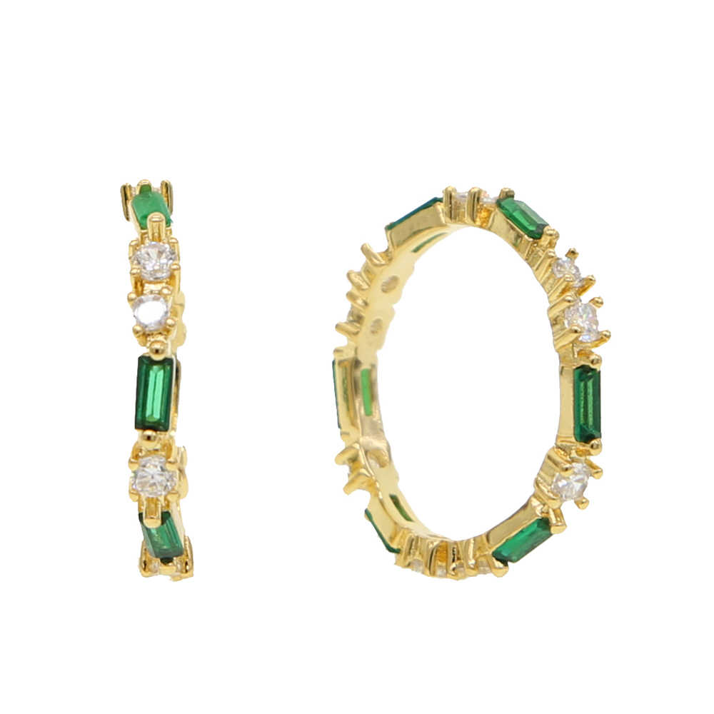 Gold filled สีเขียวคริสตัล CZ งานแต่งงานแหวน Micro Paved AAA Zircon แหวนหมั้น cz eternity แหวนผู้หญิงเครื่องประดับ