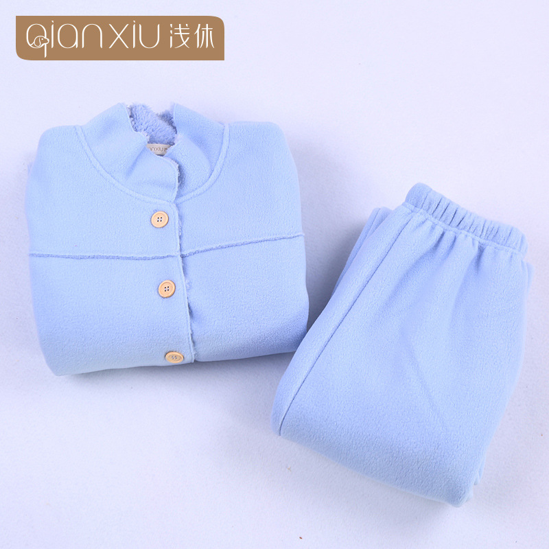 2018 Winter hot koop Vrouwen flanel Thicken warme Pyjama Set Staande kraag Nachtkleding Pak lichtblauw Pyjama casual homewear - 2