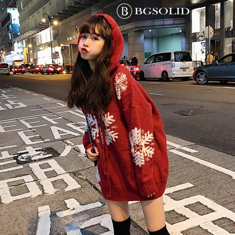 New autumn and winter versions of women's slouchy Christmas snowflake hooded sweatshirt thickened