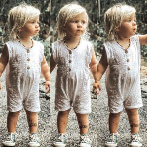 2019 г. Летний хлопковый Мягкий комбинезон для маленьких мальчиков и девочек, комбинезон, комплект из одного предмета комбинезон, 3 цвета, детская одежда для малышей, детей, новорожденных