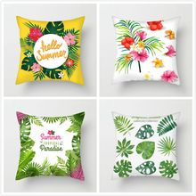 Fuwatacchi Plant Cushion Cover Green Leaf Throw Pillow Cover Leaf Pillow Cover Pillowcase for Home Sofa Decorative Pillowcases цены