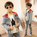 Boy jacket in the spring and autumn period of children big virgin boy orange jacket and cap knitting and denim jacket