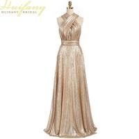 2016 sparkly convertible meid van honor jurken a-lijn lange goedkope gold pailletten bruidsmeisjekleding robe demoiselle d'honneur