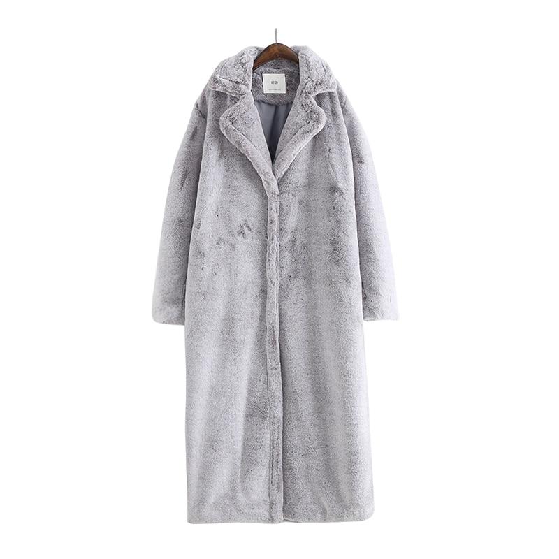 2018 דש גדול אופנה חדשה ארוך X מעיל פרווה מזויפת סופר רך מעיל פרווה ארוכה שרוולים לעבות חורף חם מעיל פרווה