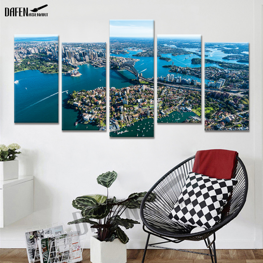 Wall Art Beautiful  Picture scenery of Sydney Harbour 5 Panel Canvas Painting for Living Room Modern Home Decorative Frameless