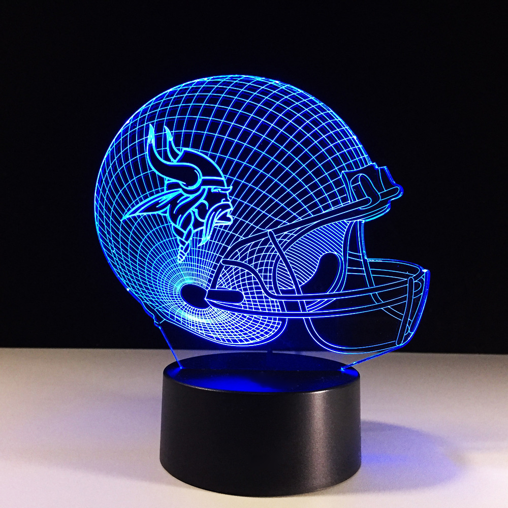 Footbal Helmet 3D Table Lamp LED Luminaria Baby Sleep Night Light Xmas Gifts 7 Colors Changeable Acrylic Rugby Cap Light Fixture