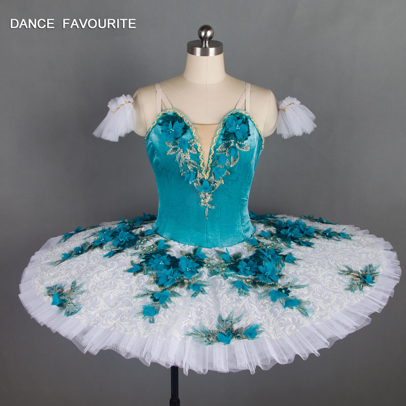 B18028 Adult Girls Professional Ballet Tutu Blue Performance Pancake Tutu Skirt Ballet Stage Tutu Costume
