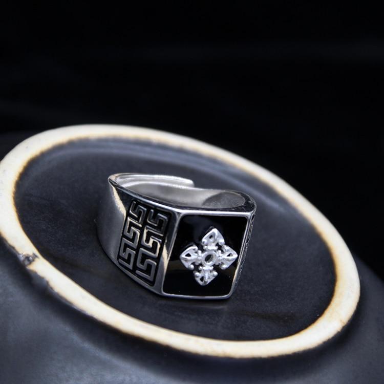Fabriqué à la main 100% 925 argent bouddhiste Vajra symbole anneau solide Sterling tibétain Dorje anneau bonne chance anneau redimensionnable