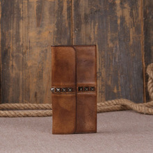 2016 men's rivet long wallets 100% genuine leather clutches vintage handmade purse for men real Cowhide Original design